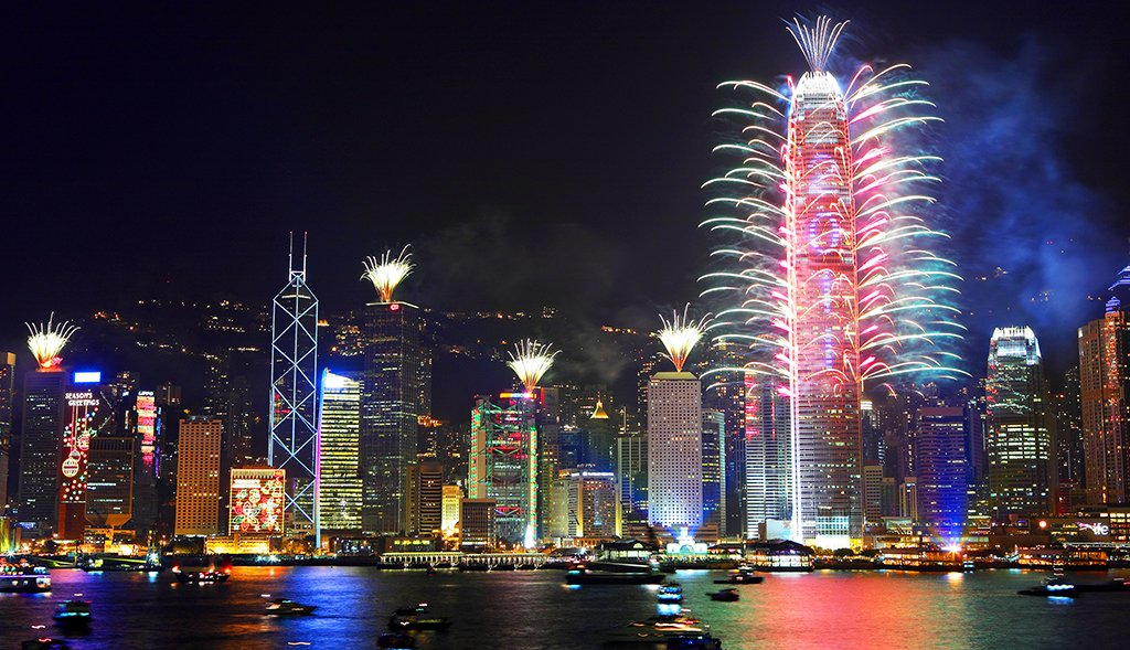 Nouvel an chinois, feux d'artifice à Hong Kong